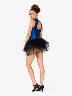 Womens Blue Bayou Checkered Bustled Performance Leotard