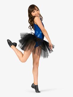 Girls Blue Bayou Checkered Bustled Performance Leotard