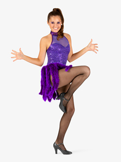 Womens Performance Feather Boa Bustled Halter Leotard