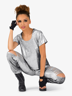 Womens Distressed Metallic 2-Piece Hip Hop Set