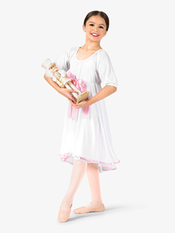 Girls Short Sleeve Ribbon Dress