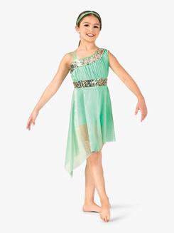 Girls Performance Asymmetrical Mesh Dress