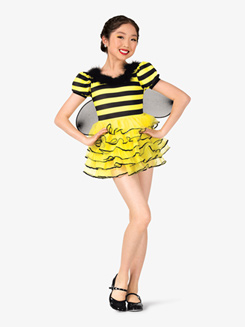 Girls Bumble Bee Short Sleeve Character Costume Dress