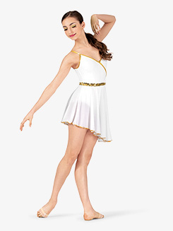 Womens Dance Costume Grecian Asymmetrical Dress