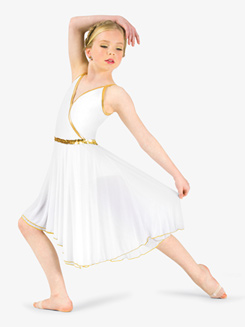 Girls Dance Costume Grecian Asymmetrical Dress