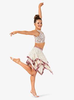 Womens 2-Piece Dance Costume Top & Skirt Set