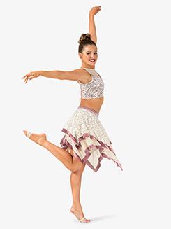 Womens 2-Piece Dance Costume Top & Skirt Set