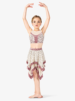 Girls 2-Piece Dance Costume Top & Skirt Set