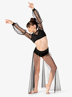 Womens 3-Piece Mesh Lyrical Dance Costume Set