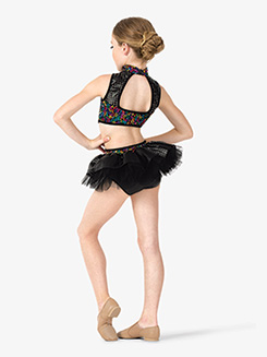 Girls Performance Bustled Sequin Leotard