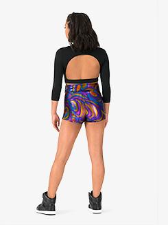Womens Performance Beats Metallic Swirl High Waist Shorts