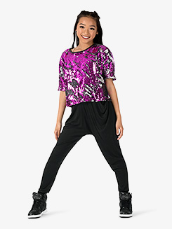 Girls Performance Beats Sequin Short Sleeve Top