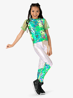 Girls Performance Groove Boxy Metallic Short Sleeve Top