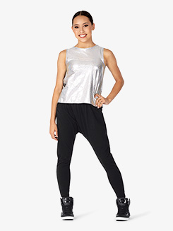Womens Performance Groove Boxy Metallic Tank Top