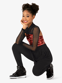 Girls Performance Freestyle Attached Shrug Crop Top
