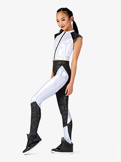 Womens Performance Vibing Two-Tone Metallic Leggings