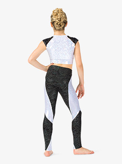 Girls Performance Vibing Two-Tone Metallic Leggings