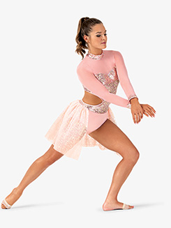 Womens Performance Sequin Long Sleeve Leotard