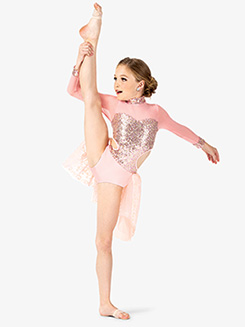 Girls Performance Sequin Long Sleeve Leotard