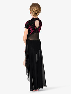 Girls Performance Baroque Velvet Short Sleeve Dress