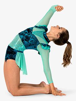 Womens Performance Velvet Bustled Long Sleeve Leotard