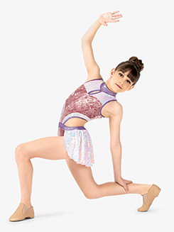 Girls Performance Iridescent Sequin Tank Leotard