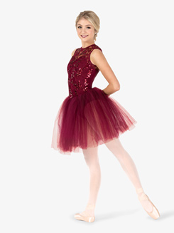 Womens Performance Lace Tank Tutu Dress