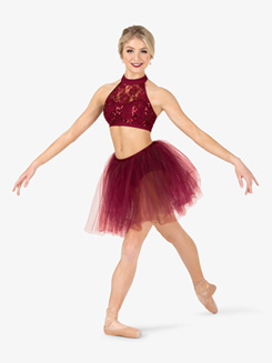Womens Top & Skirt 2-Piece Dance Costume Set