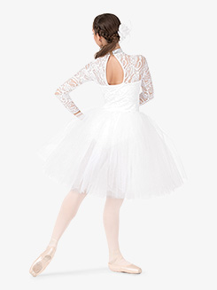 Womens Performance Lace Overlay Romantic Tutu Dress