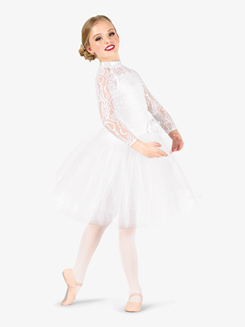 Girls Performance Lace Overlay Romantic Tutu Dress