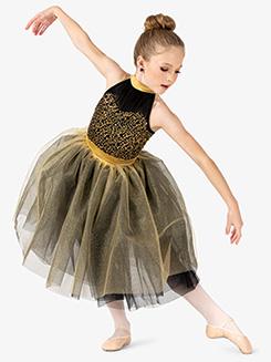 Girls Performance Contrast Sequin Halter Tutu Dress