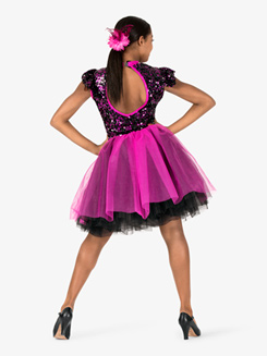 Womens Performance Contrast Sequin Romantic Tutu Dress