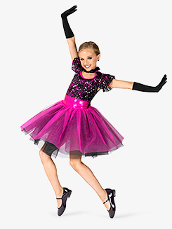 Girls Performance Contrast Sequin Romantic Tutu Dress