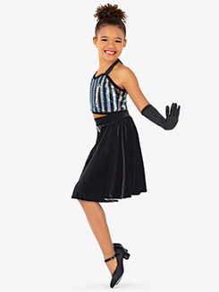 Girls Halter Top & Skirt 2-Piece Dance Costume Set