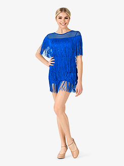 Womens Performance Fringe Cap Sleeve Dress
