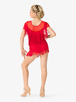 Girls Performance Fringe Cap Sleeve Dress