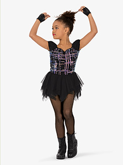 Girls Performance Plaid Print Asymmetrical Dress