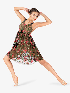 Womens Performance Floral Mesh Camisole Dress