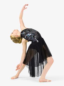 Girls Performance Multi-Colored Sequin Halter Dress