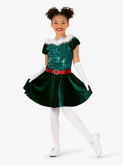 Girls Elf Three-Tone Dance Costume Dress
