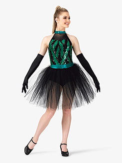 Womens Performance Two-Tone Sequin Halter Tutu Dress