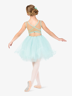 Girls Performance Floral Applique Tank Tutu Dress