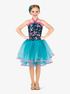 Girls Performance Flower Sequin Halter Tutu Dress