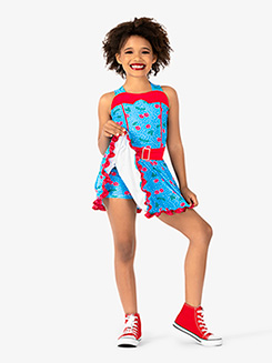 Girls Performance Cherry Printed Tank Dress