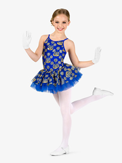 Girls Performance Flower Sequin Camisole Tutu Dress