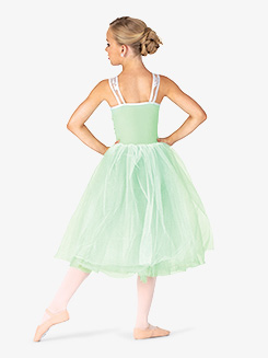 Womens Performance Mesh Overlay Tank Tutu Dress