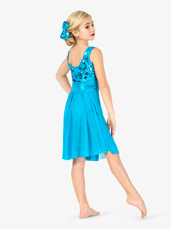 Girls Performance Sequin Knee-Length Tank Dress