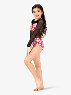 Girls Floral Print Mesh Long Sleeve Leotard
