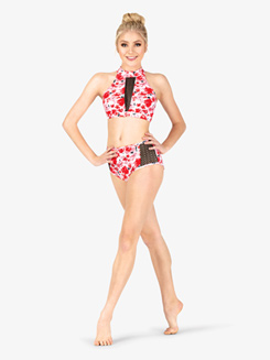 Womens Floral Print Mesh Dance Briefs