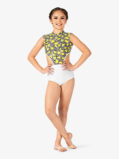 Girls Lemon Print Mock Neck Halter Leotard